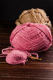 Crochet with two ball of yarn and hook Royalty Free Stock Photos