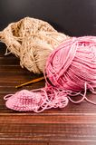 Crochet with two ball of yarn Royalty Free Stock Image