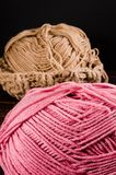 Crochet with two ball of yarn Royalty Free Stock Images