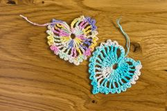 Crochet two hearts Stock Image
