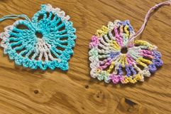 Crochet two hearts Stock Images