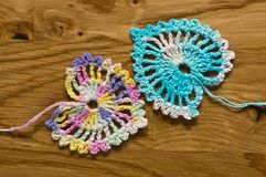 Crochet two hearts Royalty Free Stock Photography