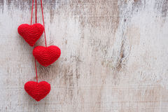 Crochet valentine heart. With love Stock Photo