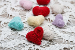 Crochet valentine hearts Royalty Free Stock Photography