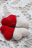 Crochet valentine hearts Royalty Free Stock Images