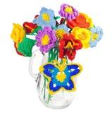 Crochet. Wildflowers of acrylic yarn Stock Image