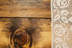 Crochet and wood background Royalty Free Stock Photos