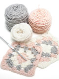 Crochet work and balls of yarn royalty free stock photos