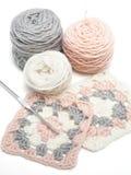 Crochet work and balls of yarn Royalty Free Stock Photos