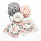 Crochet work and balls of yarn royalty free stock photography