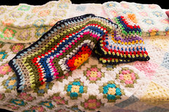 Crochet worked blankets Stock Photography