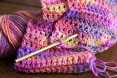 Crochet, Yarn and Crochet Hook Royalty Free Stock Images