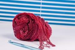 Crochet yarn,needle,hook Royalty Free Stock Photos