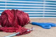 Crochet yarn,needle,hook Stock Photo