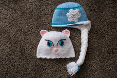 Crocheted baby hats for girls Stock Image