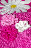 Crocheted background. With floral pattern stock images