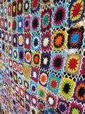 Crocheted Blanket. Multi colour crochet blanket for sale in Ubud, Bali Stock Photography