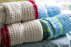 Crocheted blanket wraps. Crocheted hand crafted blanket wraps Stock Photo