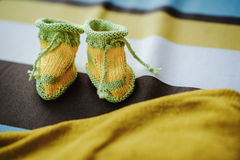 Crocheted booties Stock Photography