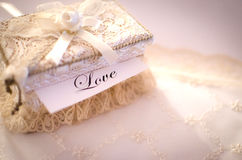 Crocheted box, love concept. Beautiful crocheted box, love concept, studio shot Stock Image
