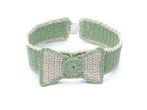 Crocheted collar with bow tie Stock Photography
