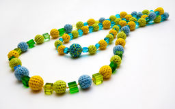 Crocheted colorful necklace Stock Photos