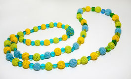 Crocheted colorful necklace stock photo
