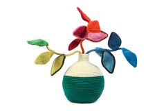 Crocheted colour plant / flowers stock photo