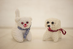 Crocheted cute dog and cat Stock Photos
