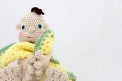 Crocheted Doll With Blanket Stock Images