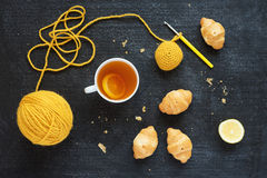 Crocheted element, lemon tea and biscuits Stock Photography