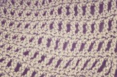 Crocheted fabric retro. Stock Photos