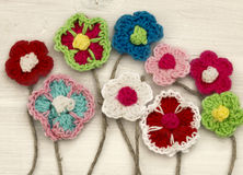 Crocheted flowers Royalty Free Stock Photography
