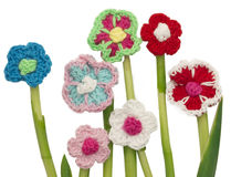 Crocheted flowers Royalty Free Stock Photo