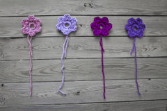 Crocheted flowers Royalty Free Stock Photos