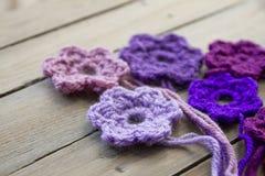 Crocheted flowers Stock Photos