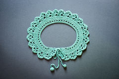Crocheted Green Handcrafted Collar Flat Lay Stock Photo