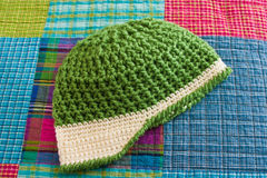 Crocheted Hat with Bill Royalty Free Stock Photos