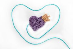 Crocheted heart with crown Stock Photo