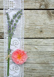 Crocheted Lace and Flowers Stock Photography