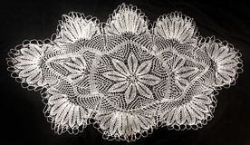Crocheted lace napkin Stock Image