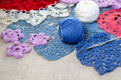Crocheted lace napkins Stock Photo