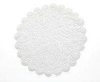 Crocheted lace on white Royalty Free Stock Photo