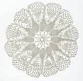 Crocheted lace on white Stock Photo