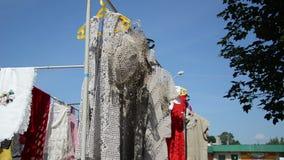 Crocheted linen blouses stock video