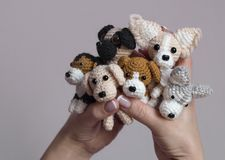 Amigurumi, cute little dogs crocheted royalty free stock photography