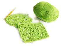Crocheted motifs of cotton. Crochet. Hobby. Crocheted motifs of cotton Stock Image
