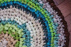 Crocheted Rag Rug Closeup Royalty Free Stock Images