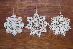 Crocheted snowflakes Royalty Free Stock Photo