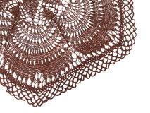 Crocheted tablecloth. A decorative image with many details stock photography